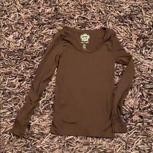 Sugarlips brown long sleeve stretch shirt
